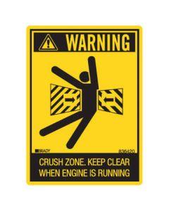 Machinery Safety Sticker - WARNING CRUSH ZONE 100x120mm