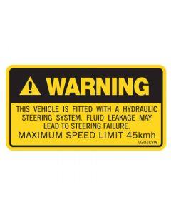 Machinery Safety Sticker - WARNING HYDRAULIC 50x90mm