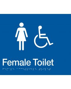 Female/Disabled Toilet Braille Sign Blue