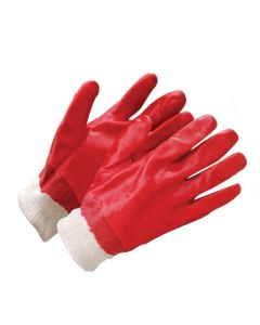 Red PVC Coated Knit Wrist Gloves