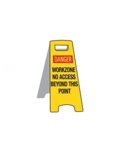 Deluxe Floor Stand Sign - Danger Workzone 670mm