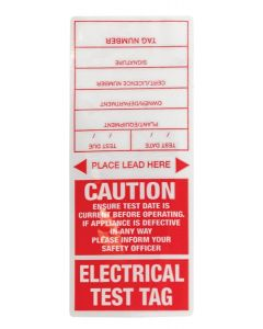 Appliance Test Tag Appliance Tags - Red