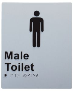 Door Braille Sign - Male Toilet (Silver)