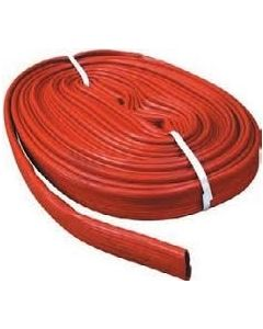 Red PVC Layflat hose, sold in custom lengths by the metre.