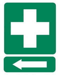 First Aid L 600 x 450mm Poly