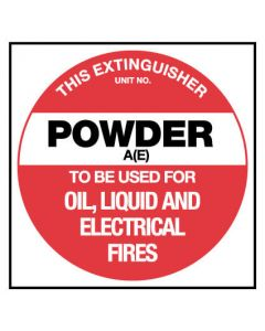 This Extinguisher Powder A(E) Fire Safety Sign Placard