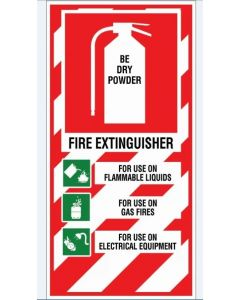 Fire Sign Fire Extinguisher - Be Dry Powder 200 x 400mm