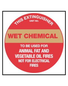 This Extinguisher Wet Chemical, Fire Safety Sign Placard