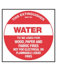 This Extinguisher - Water, Fire Emergency Placard