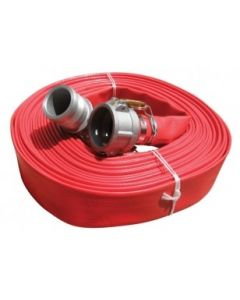 Red layflat hose with camlock fittings
