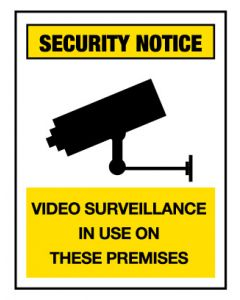 Security Notice Sign - Video Surveillance 600 x 450 mm Poly