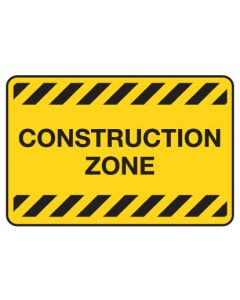 Warning Sign - Construction Zone 450 x 600mm Poly